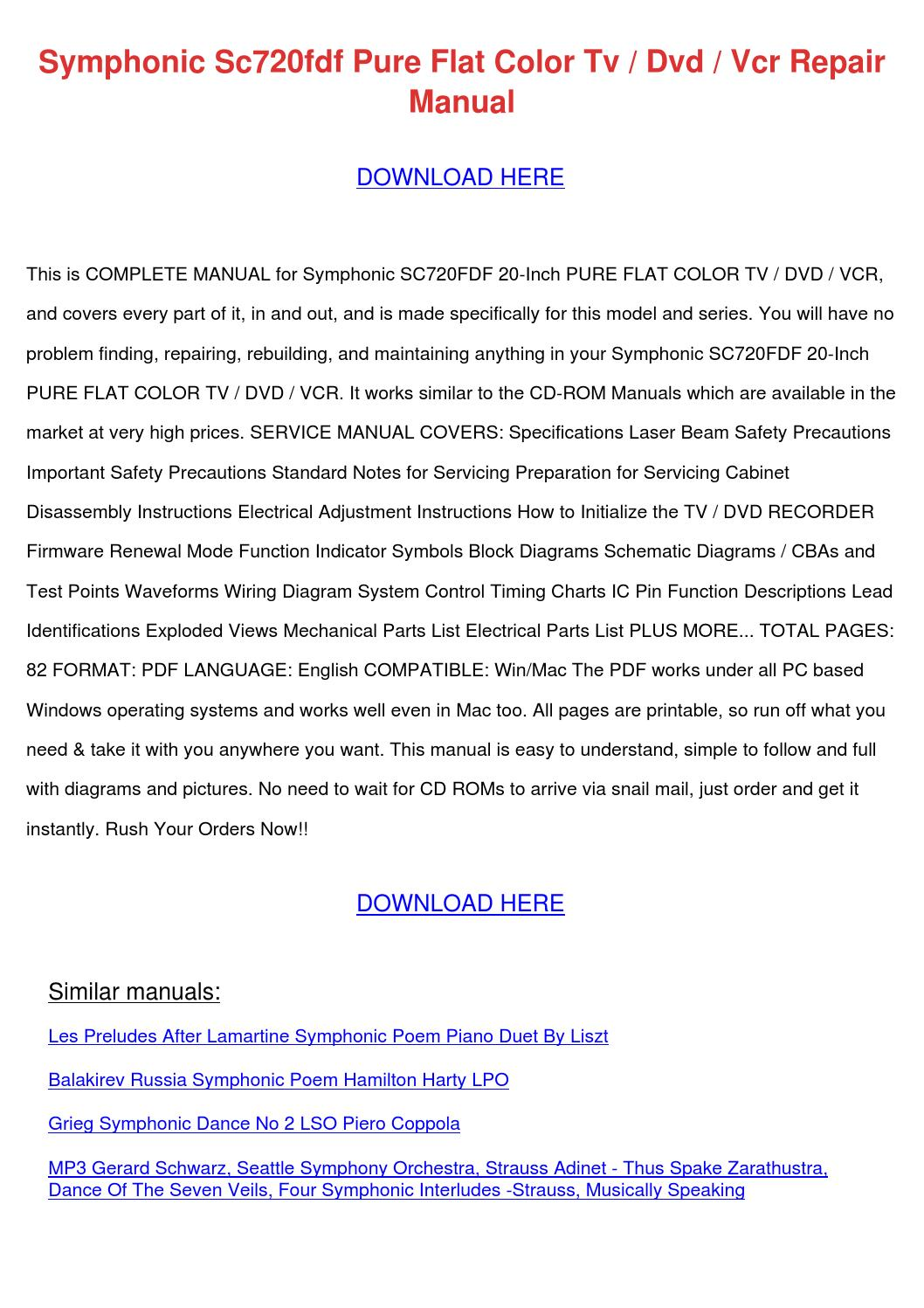 Symphonic Sc720fdf Pure Flat Color Tv Dvd Vcr By