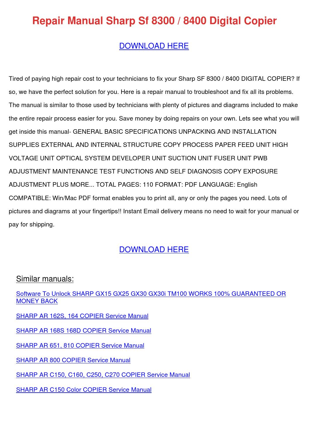 Repair Manual Sharp Sf 8300 8400 Digital Copi By