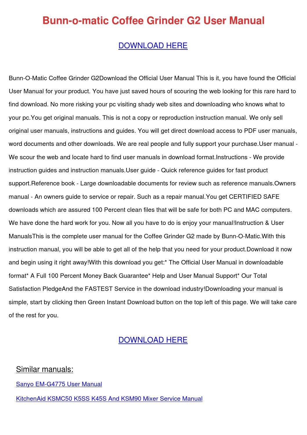 kitchenaid coffee grinder manual pdf
