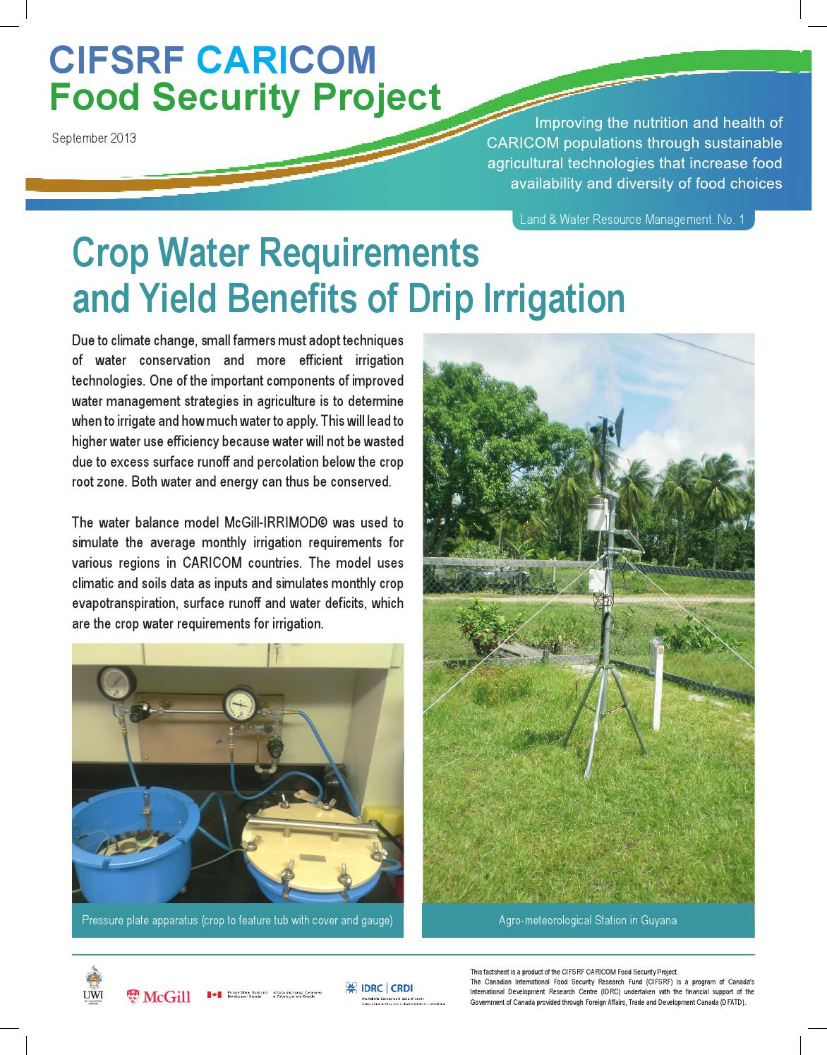 Fact Sheet - Crop Water Requirements and Yield Benefits of ...
