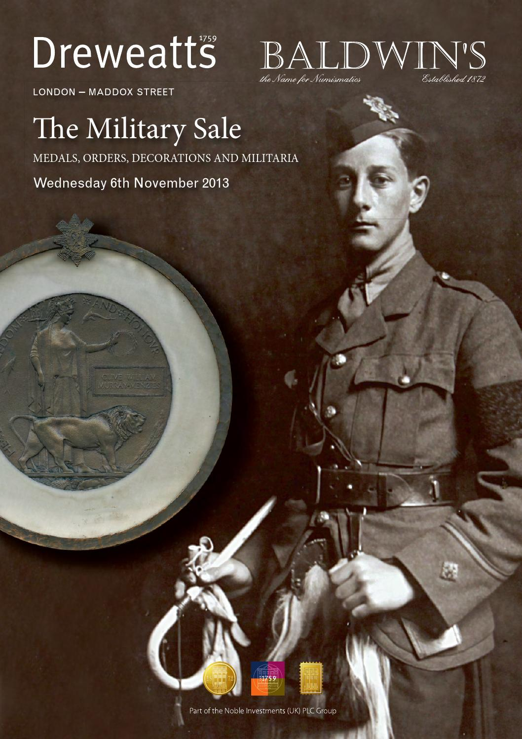 The military sale 6 november 2013 by a h baldwin for 11 adelphi terrace london wc2n 6bj