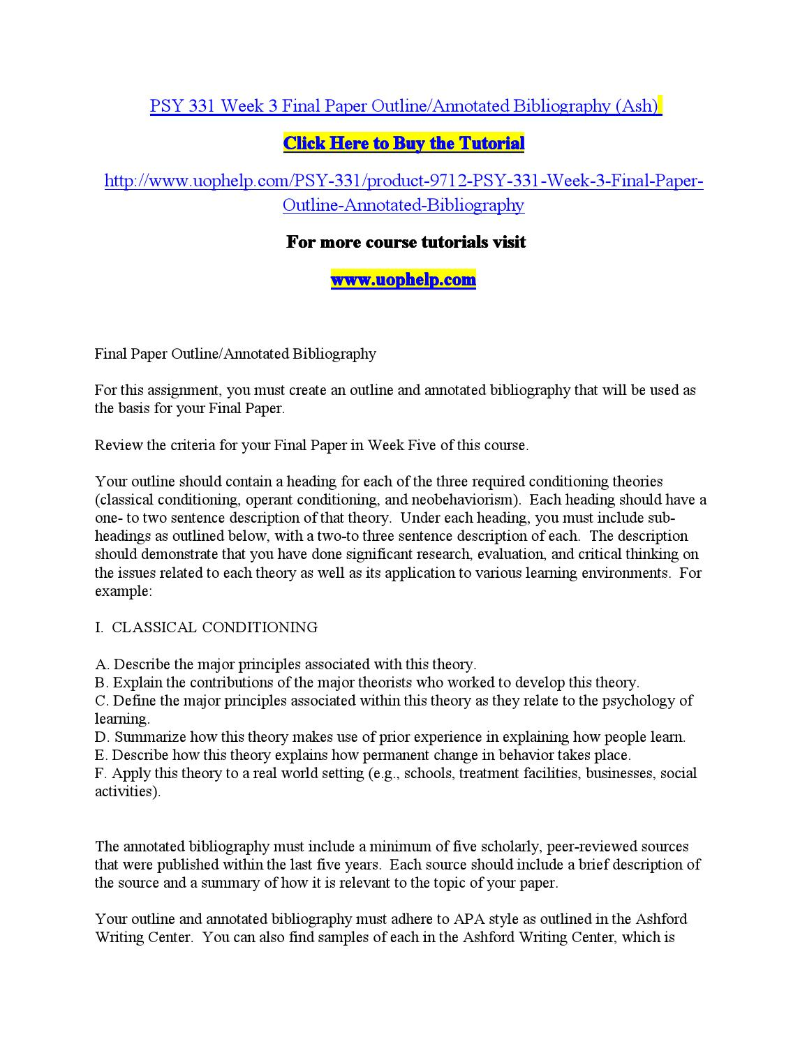 psy 101 outline and annotated bibliography template Sample annotated outline you should notice that each section has verse references to the right, and an explanation (annotation) explaining not.