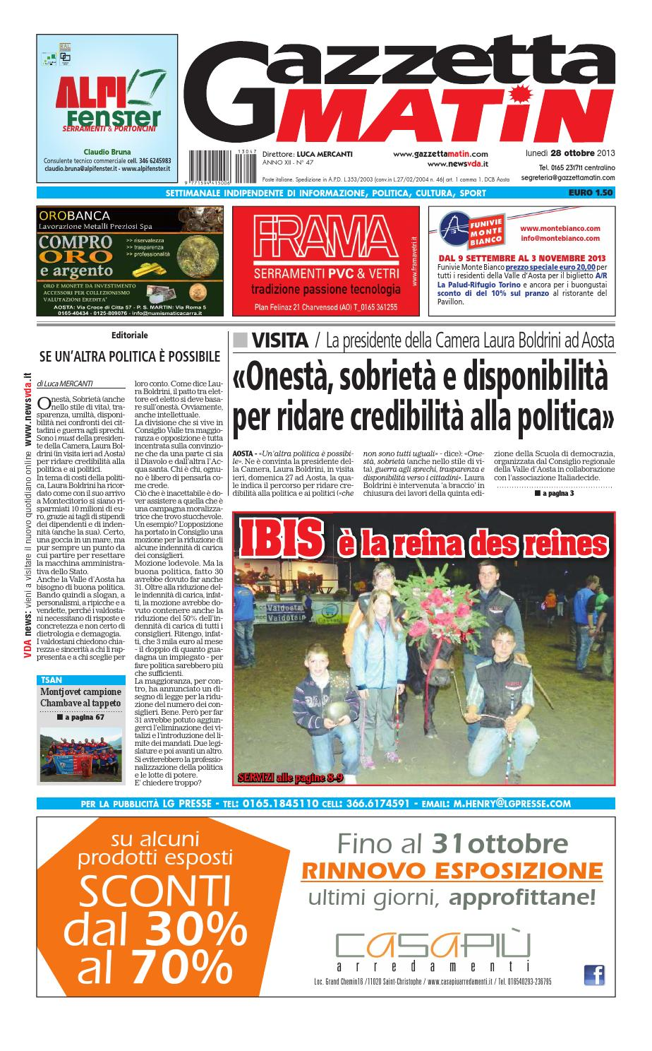 Gazzetta matin del 28 ottobre 2013 by luca mercanti issuu for Luca arredamenti torino