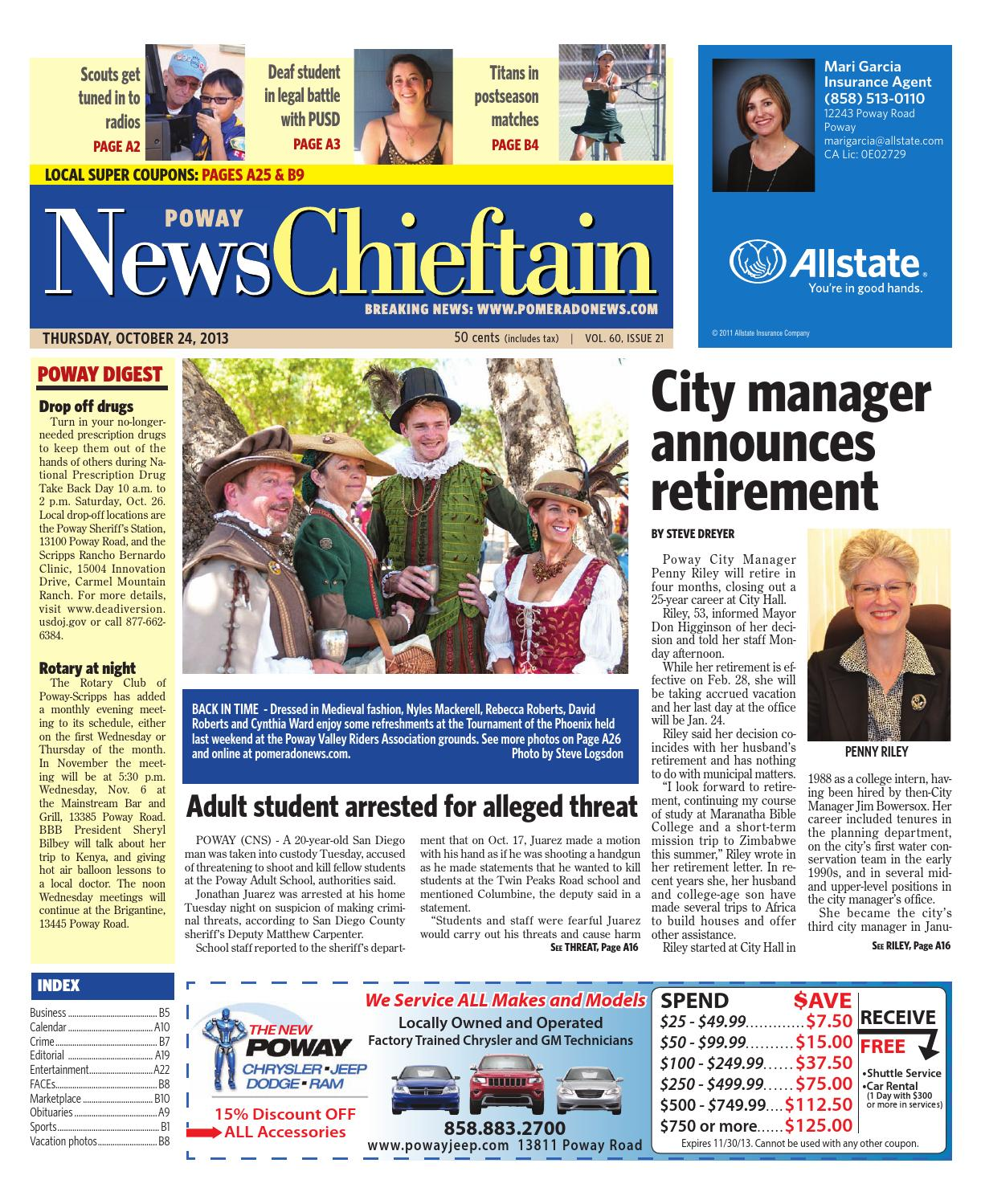 10 24 13 poway news chieftan by MainStreet Media - issuu