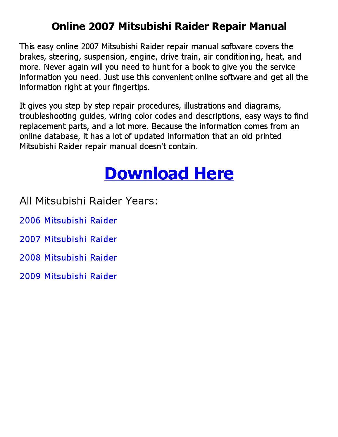 2007 Mitsubishi Raider Repair Manual Online By Emran Ahmed
