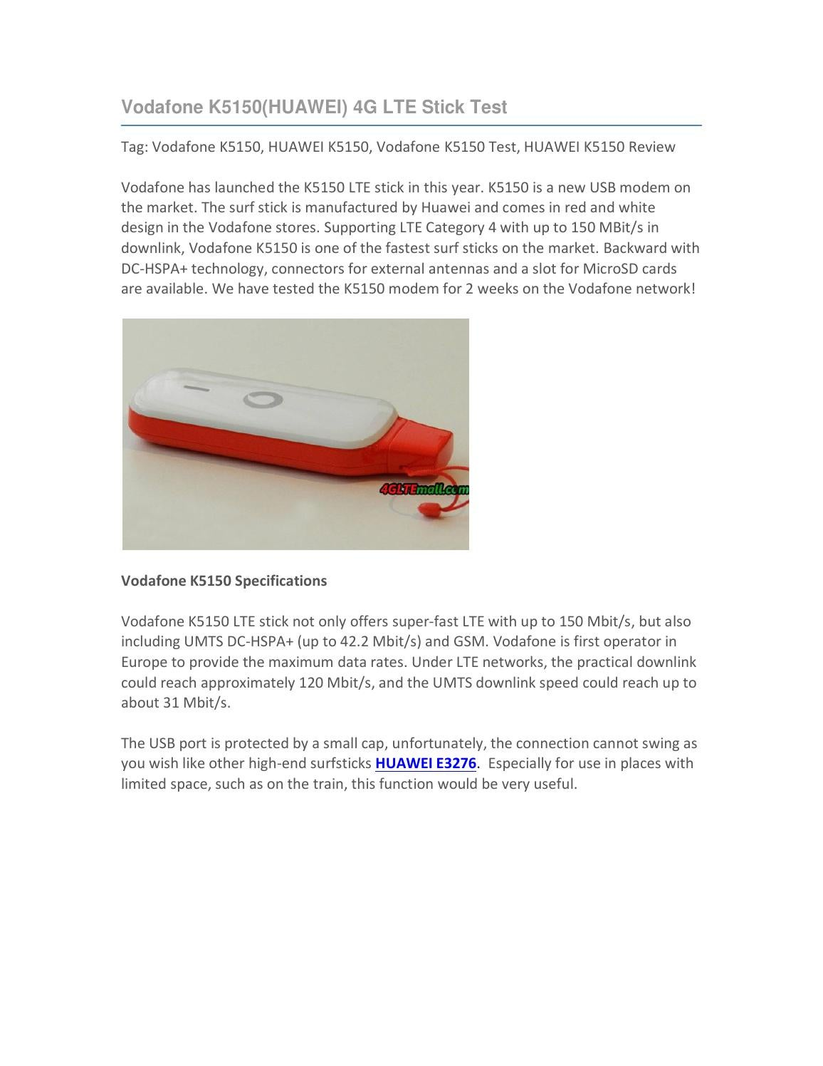 Vodafone K5150(HUAWEI) 4G LTE Stick Test by Lte Mall