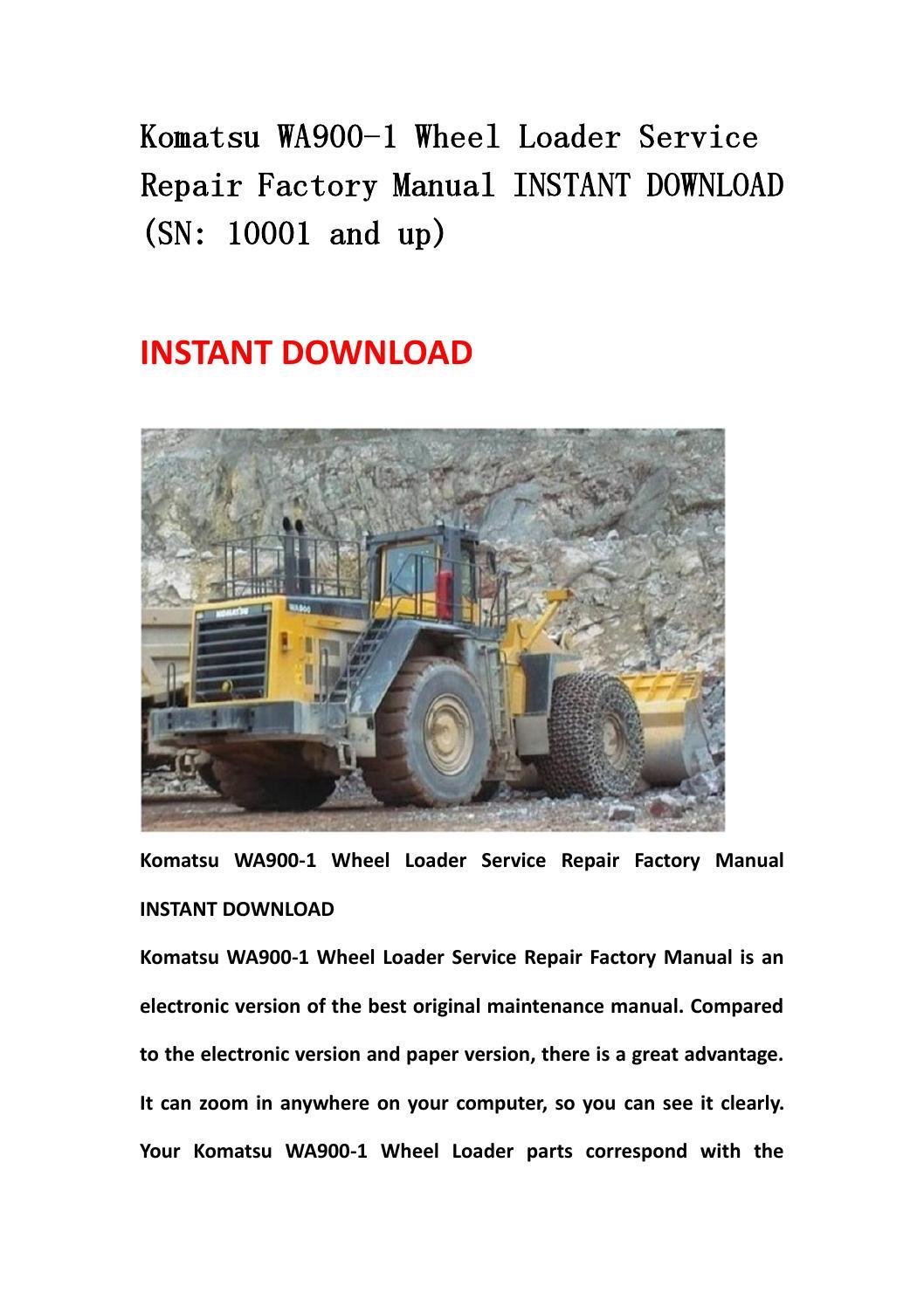 komatsu wa900 3 wheel loader service repair factory manual. Black Bedroom Furniture Sets. Home Design Ideas