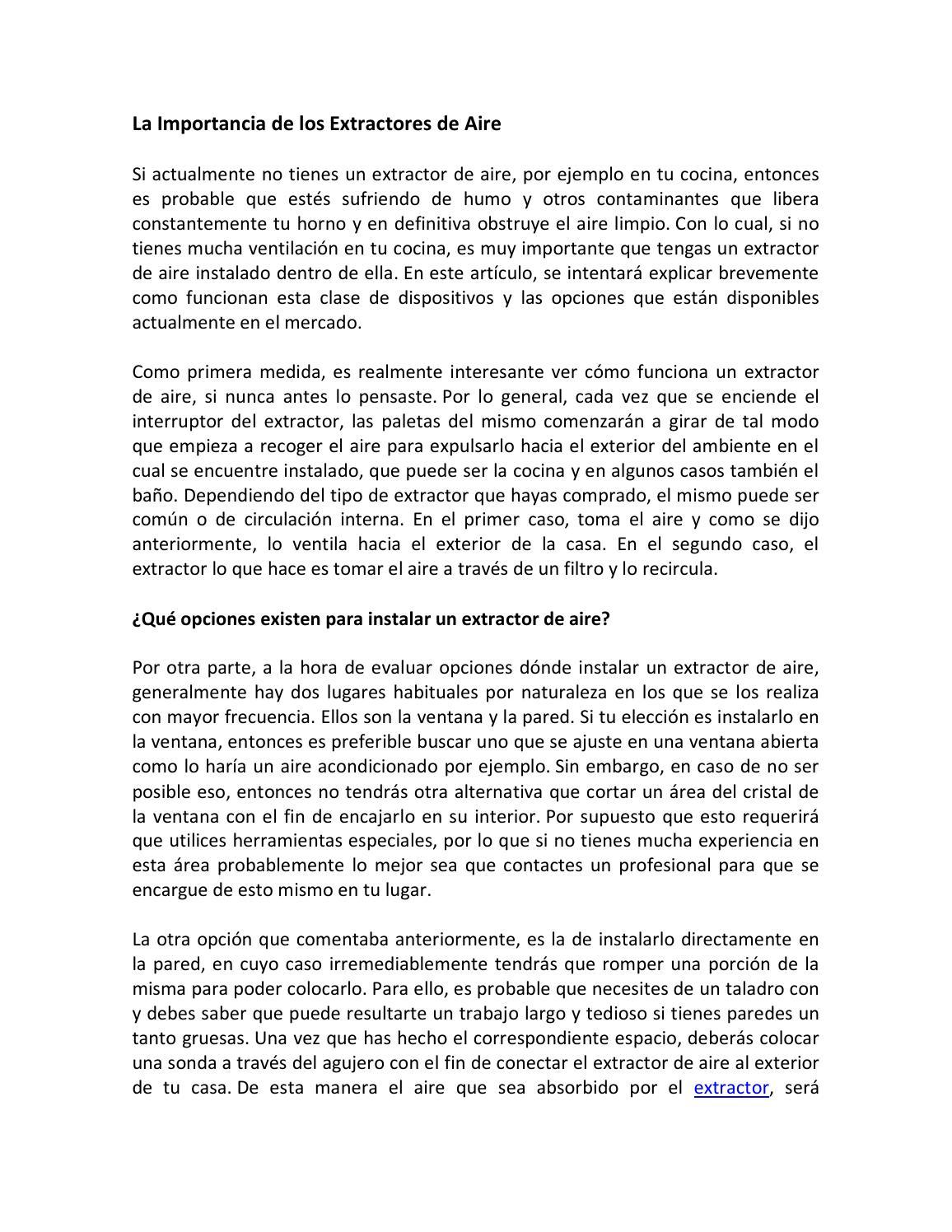 La importancia de los extractores de aire by and19 issuu - Extractores de aire ...
