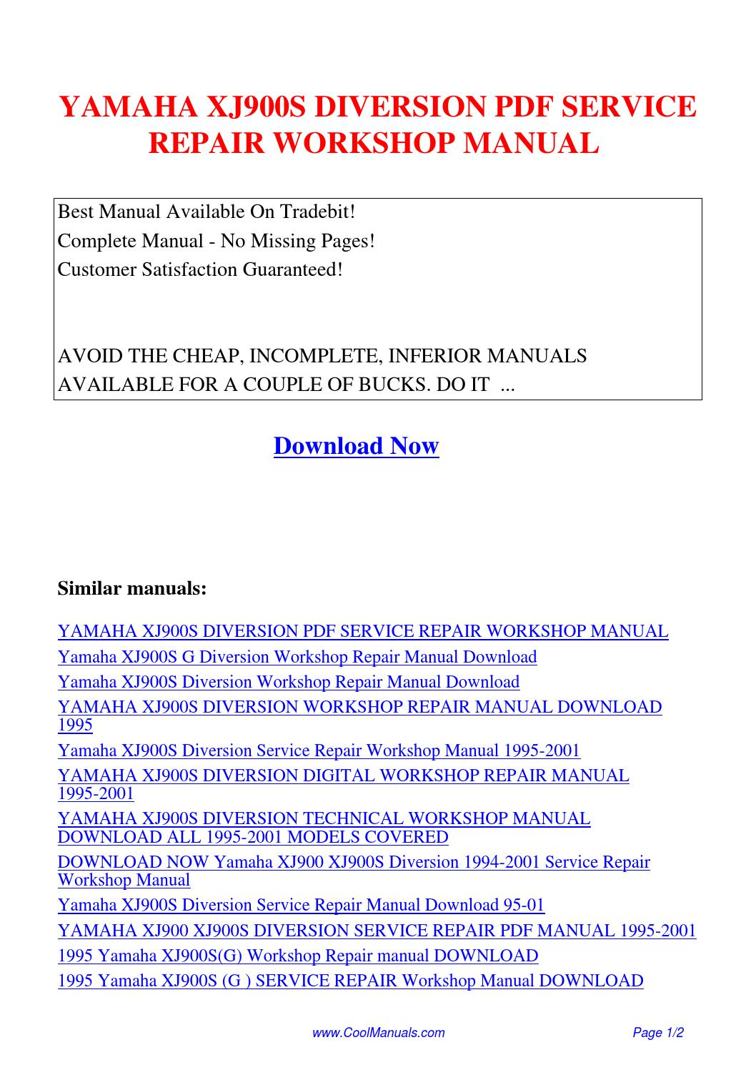 Yamaha Xj900s Diversion Service Repair Workshop Manual Pdf