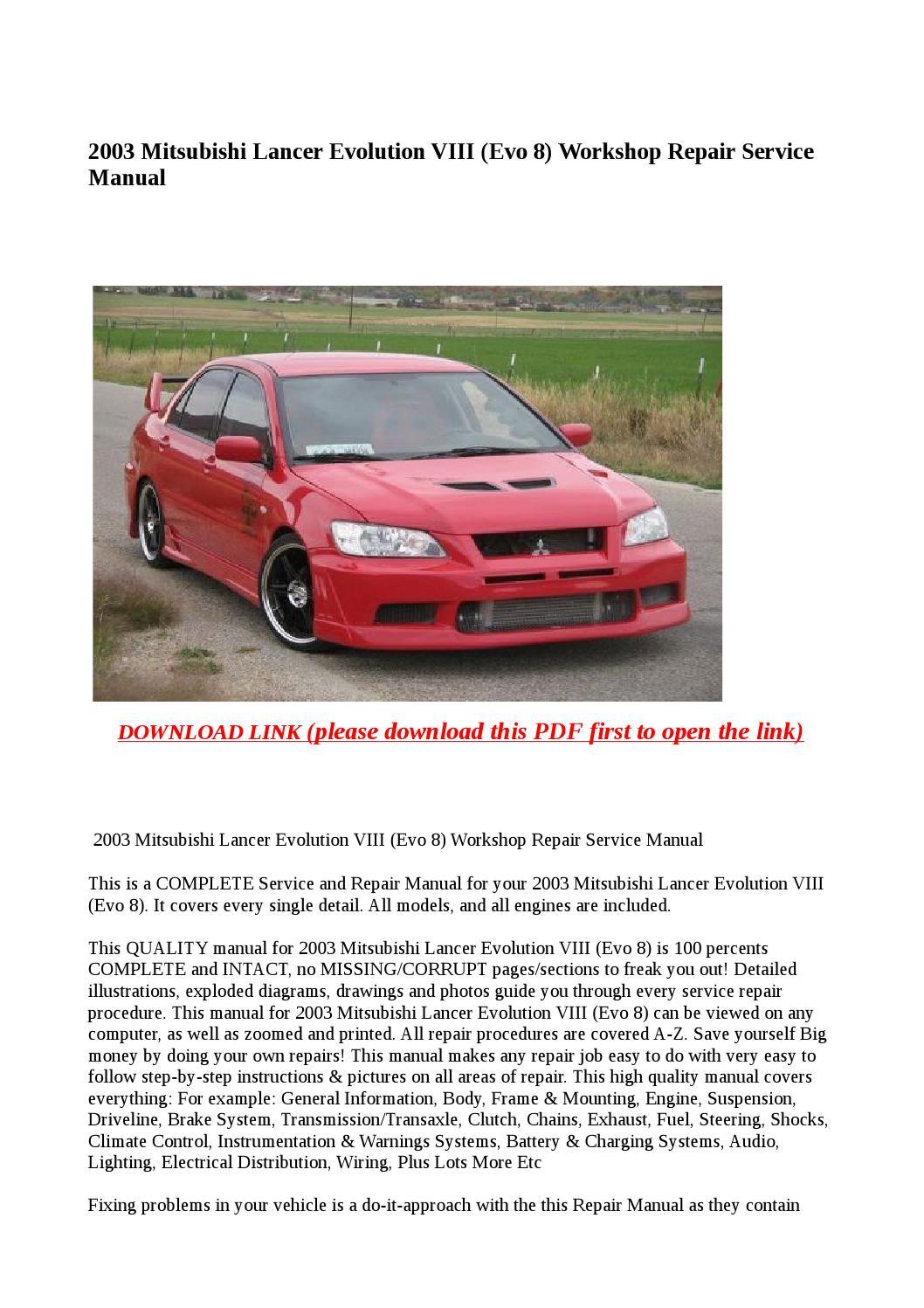 2005 mitsubishi lancer evolution service manual set oem 2 volume set and the technical service bulletins manual