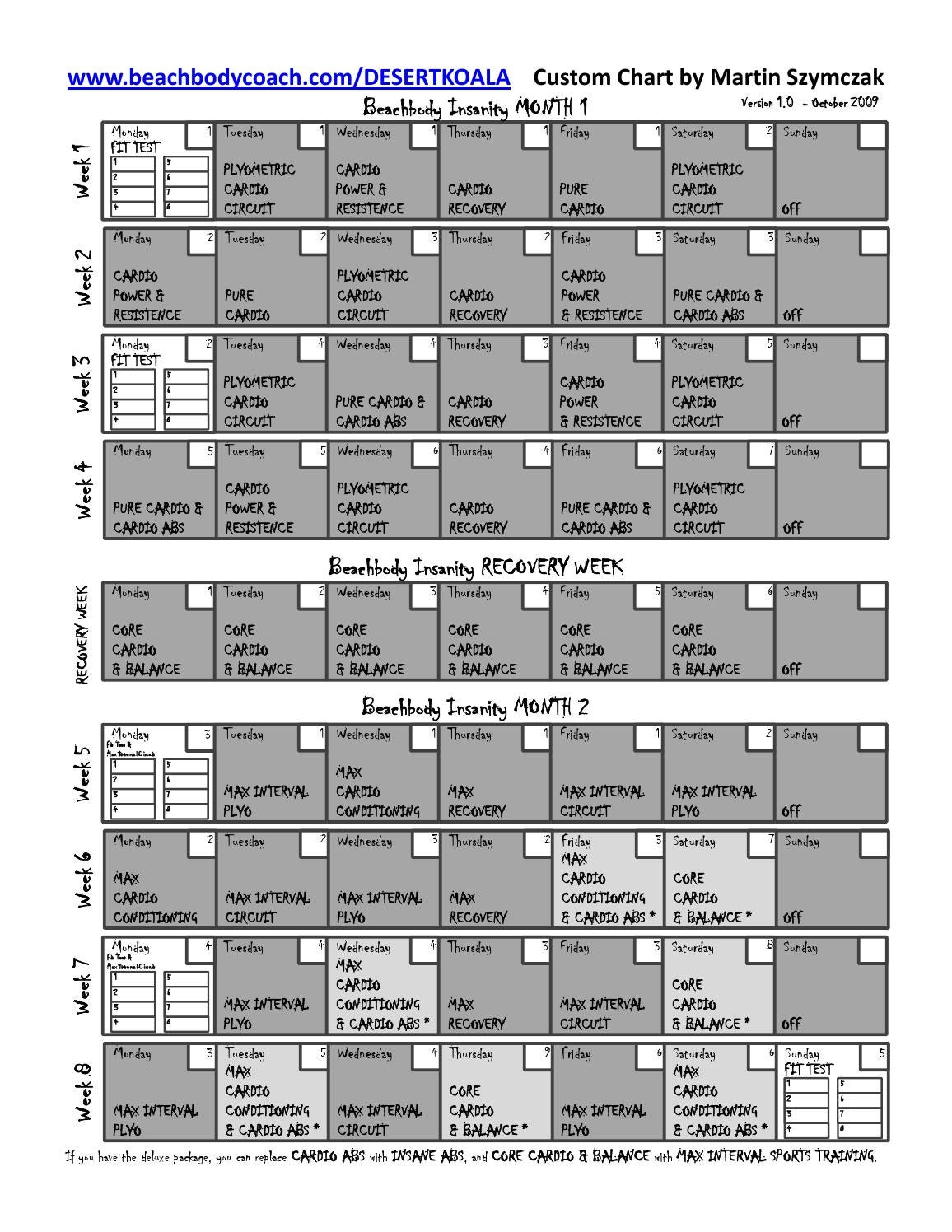 Insanity Workout Sheets Fit Test – Insanity Workout Sheet