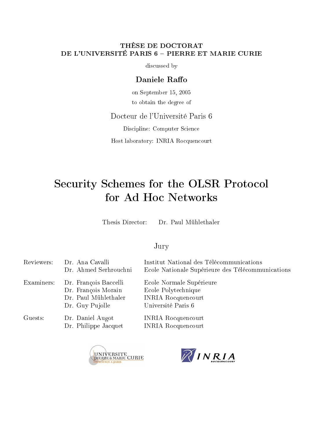 ad hoc network phd thesis Manaseer, saher (2010) on backoff mechanisms for wireless mobile ad hoc networks phd thesis, university of glasgow full text available as:.
