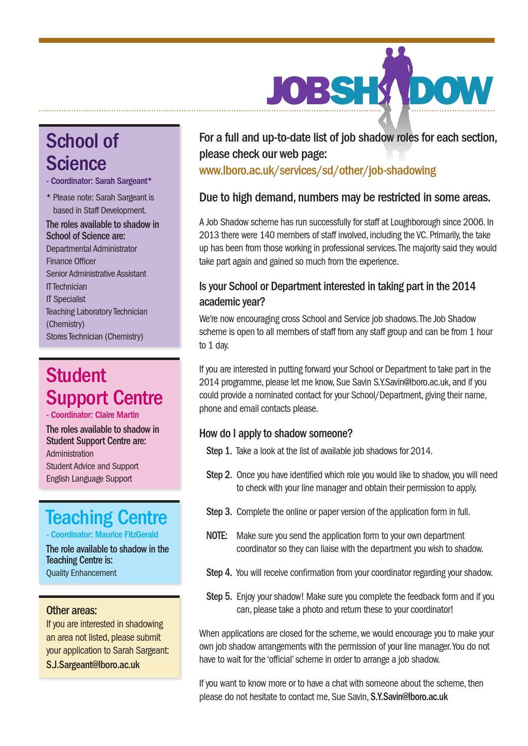 staff development job shadow scheme application form by staff development job shadow scheme application form by loughborough university page 3 issuu