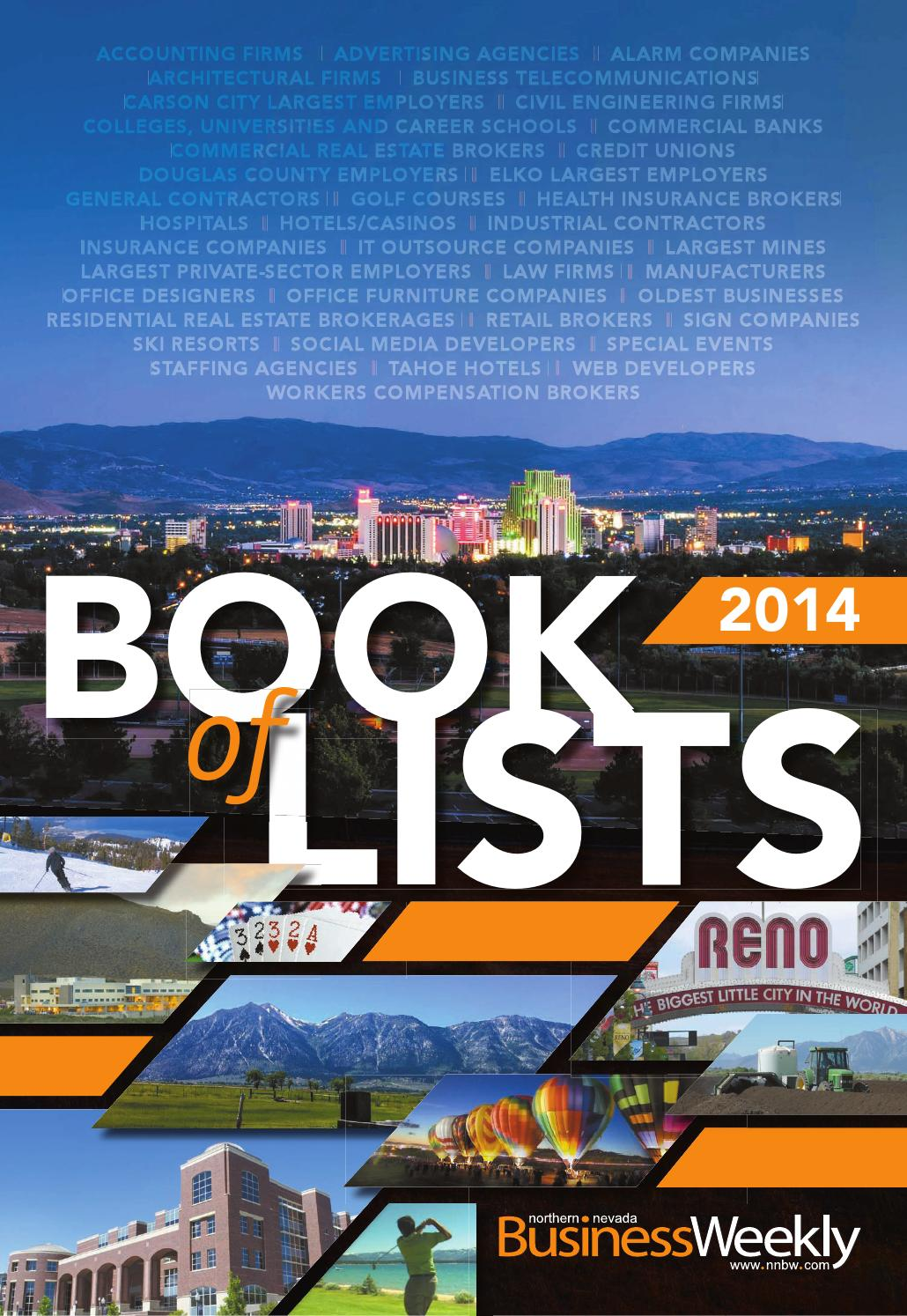 Northern Nevada Business Weekly 2014 Book Of Lists By