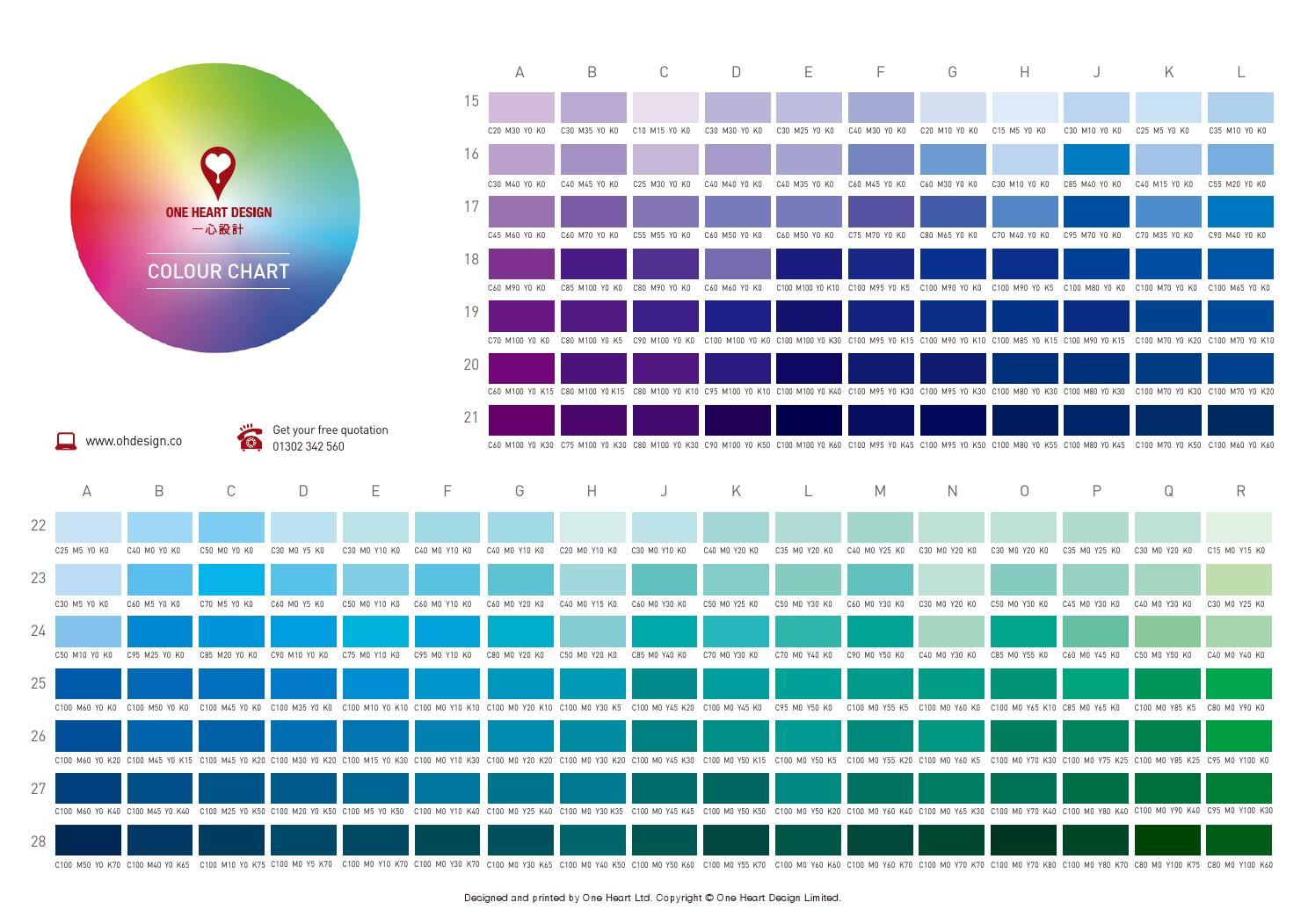 One Heart Design Colour Chart By page 2