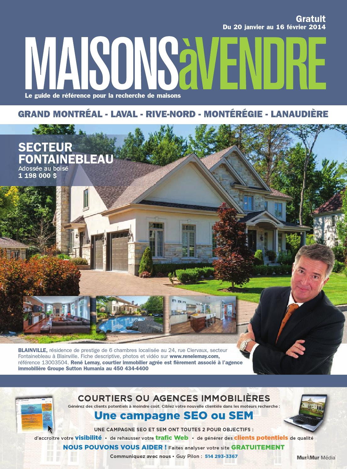Quebec maisons vendre montreal banlieues 20 jan for Agence immobiliere montreal