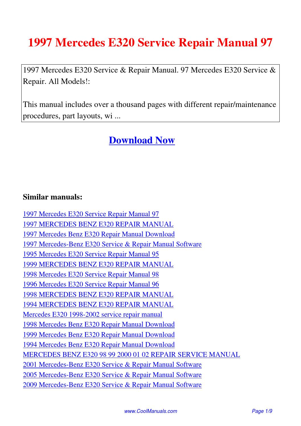 1997 Mercedes E320 Service Repair Manual 97 Pdf By Linda