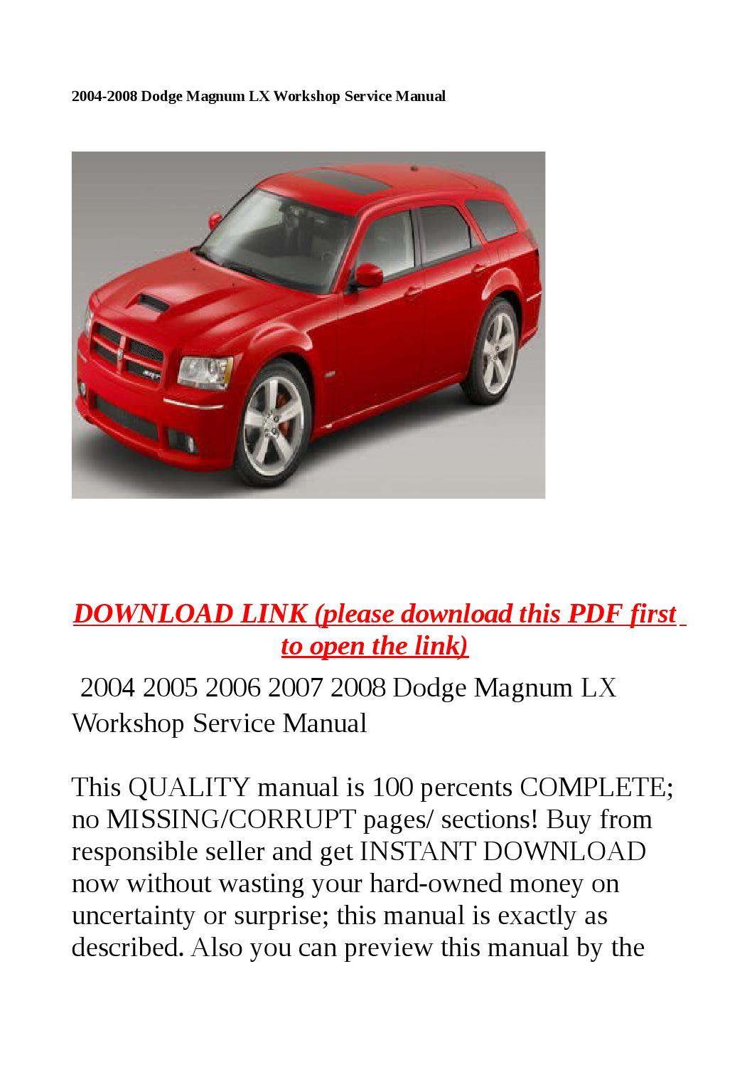 Dodge 2006 Magnum Buyer s Manual