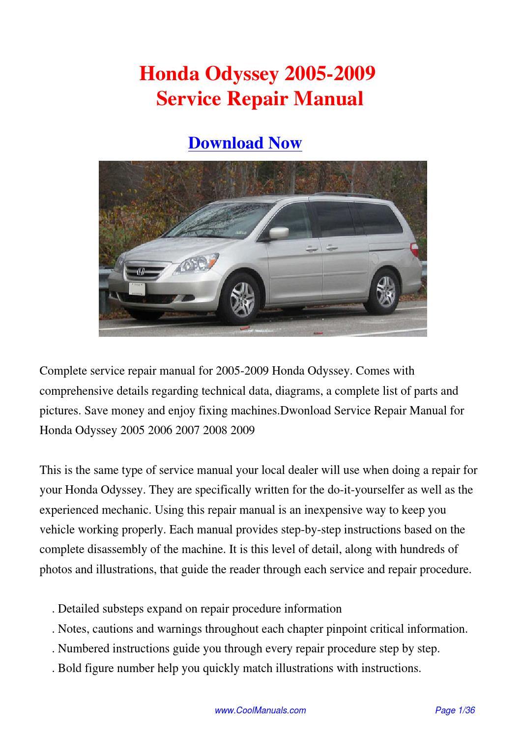 2009 HONDA ODYSSEY SERVICE MANUAL Download PDF