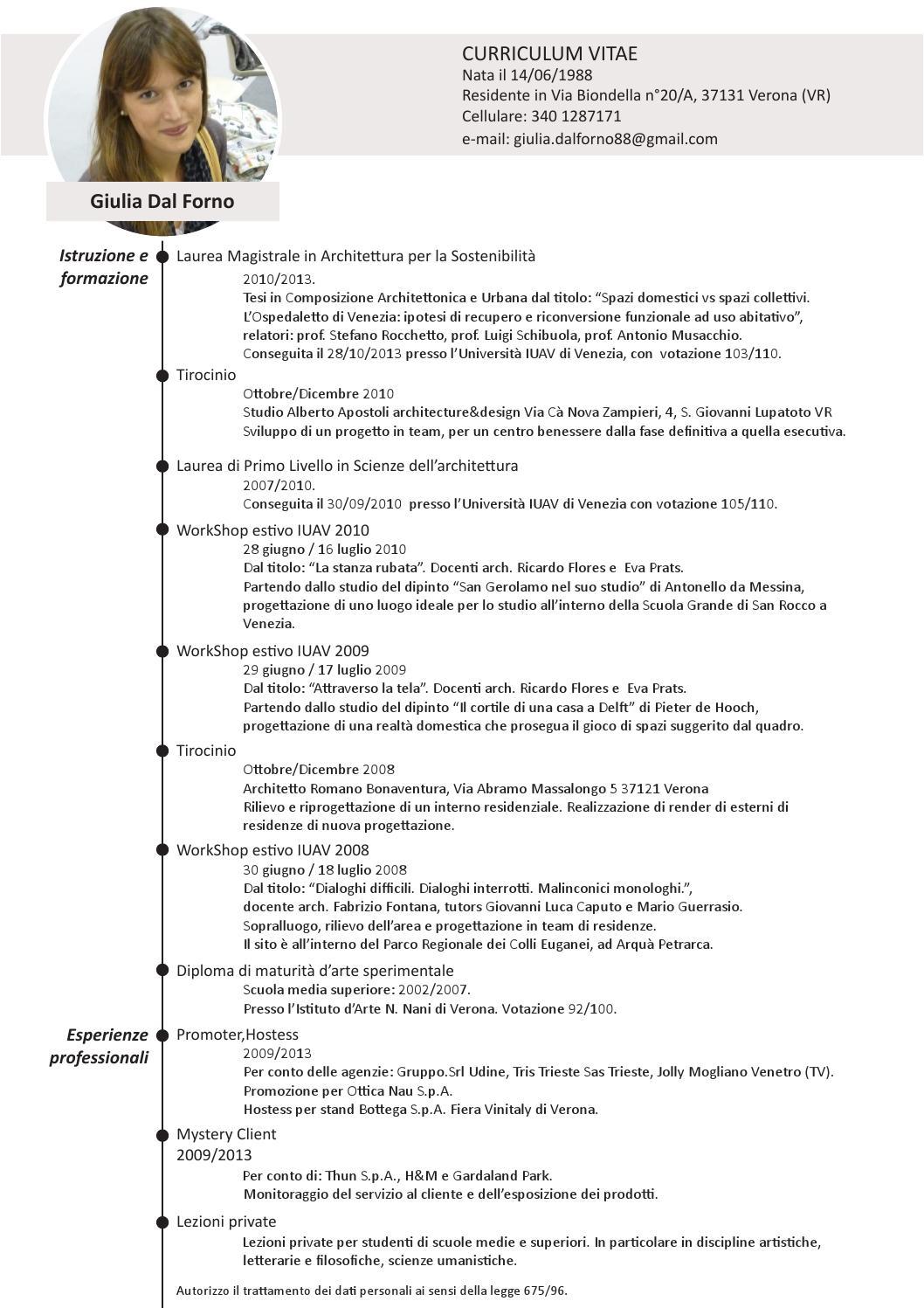 Esempio Curriculum Vitae Studente Architettura