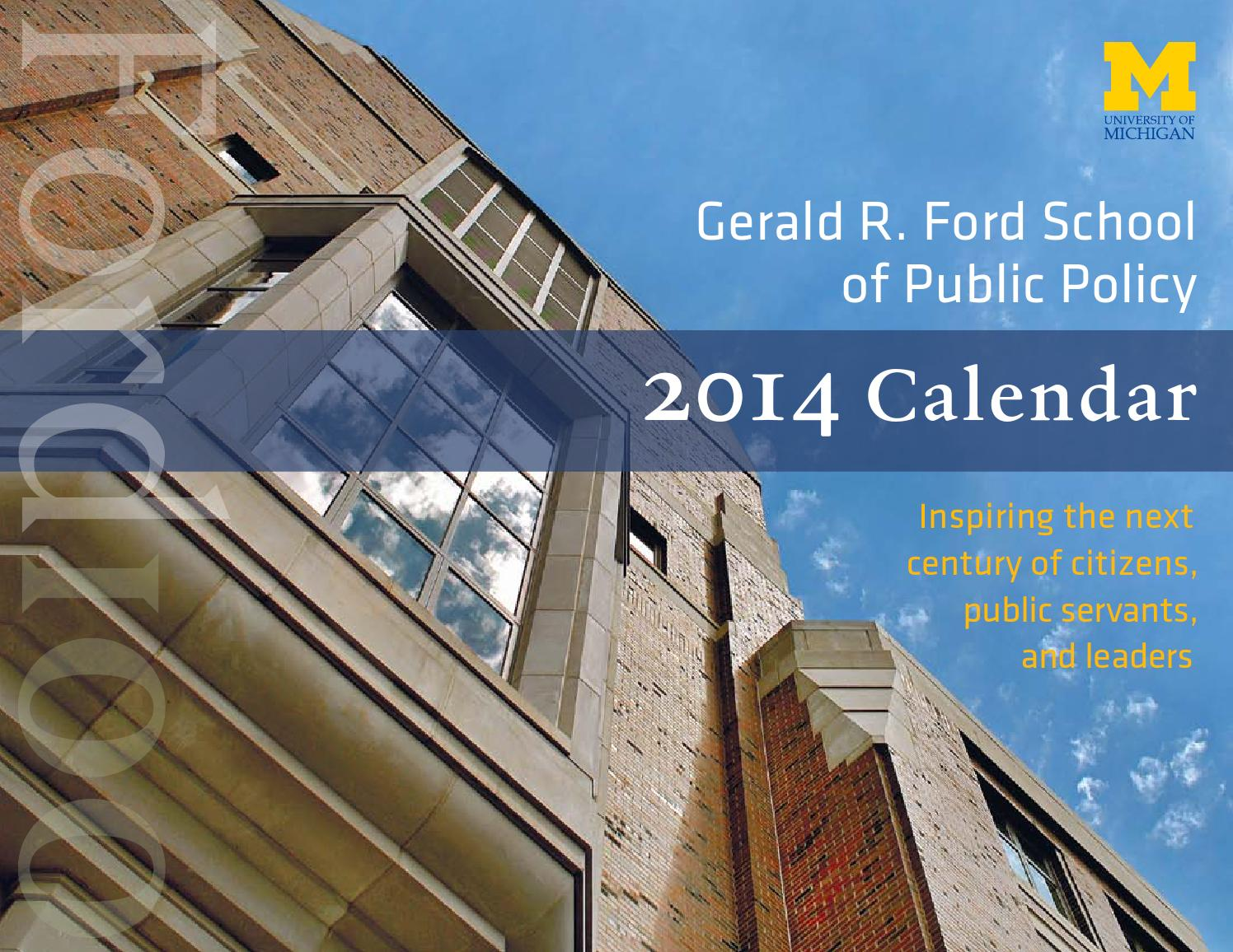 Ford School Centennial Calendar By Gerald R Ford School