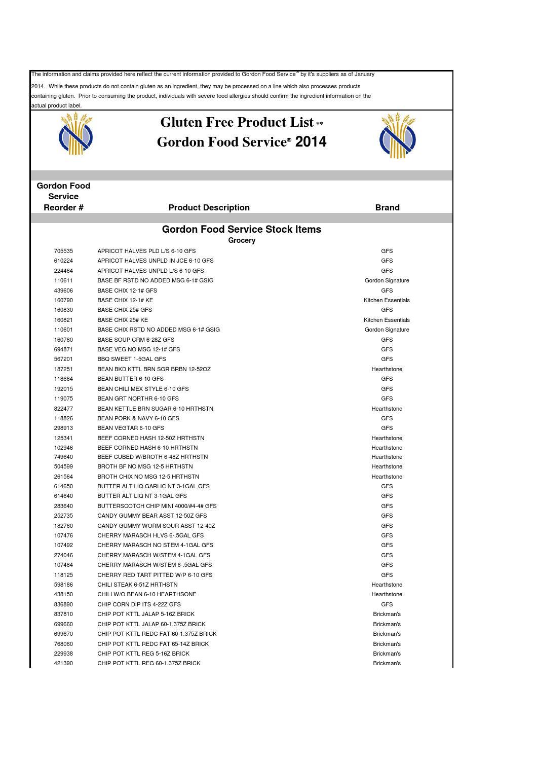 Gordon Food Service Gluten Free List