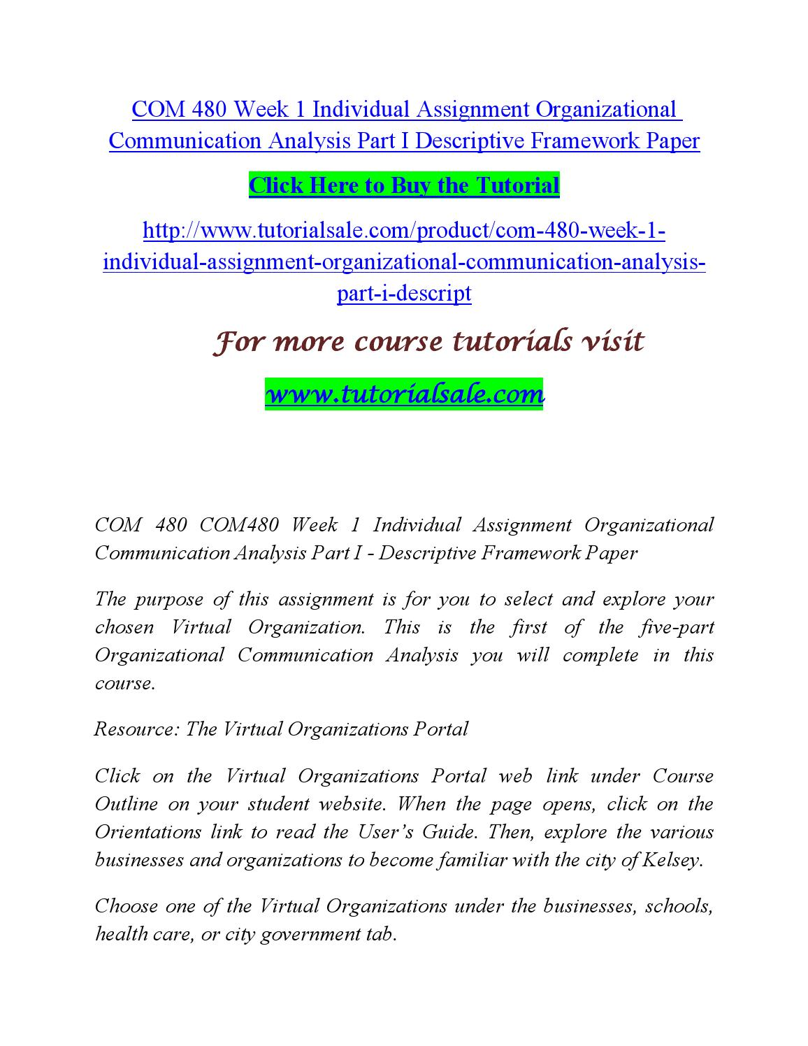 Com 480 organizational communication analysis framework paper
