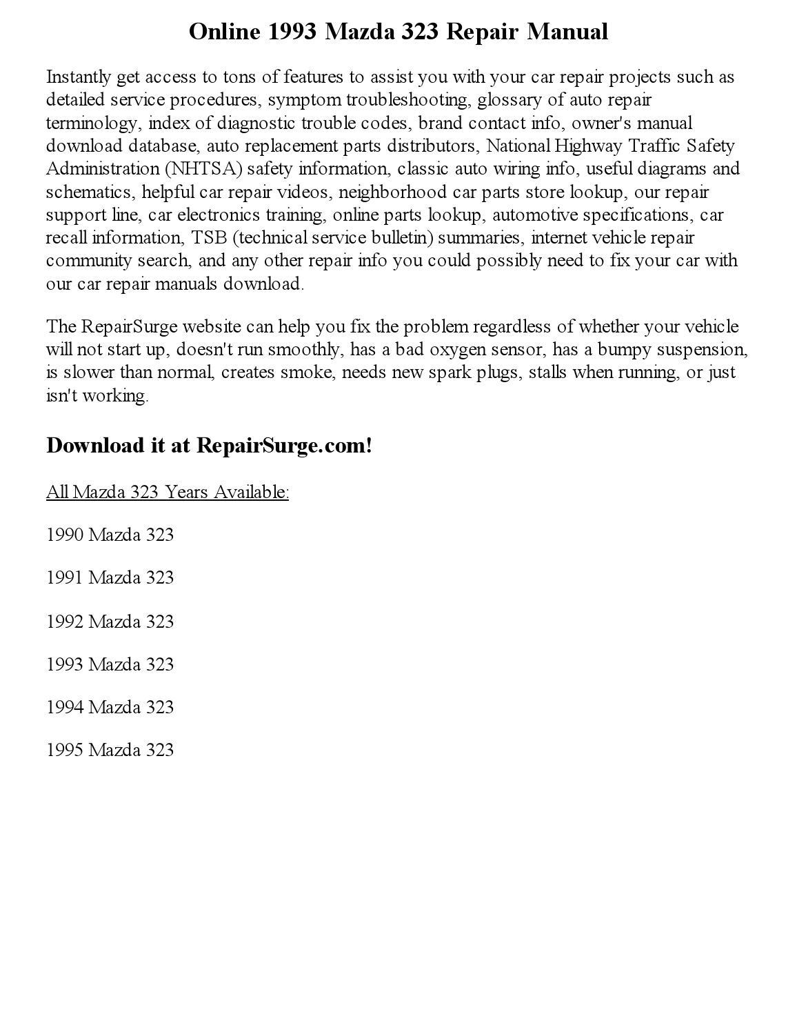 Mazda Miata Parts Diagram Car Repair Manuals And Wiring On A 1993 Fuse Box Service Manual 323 1988