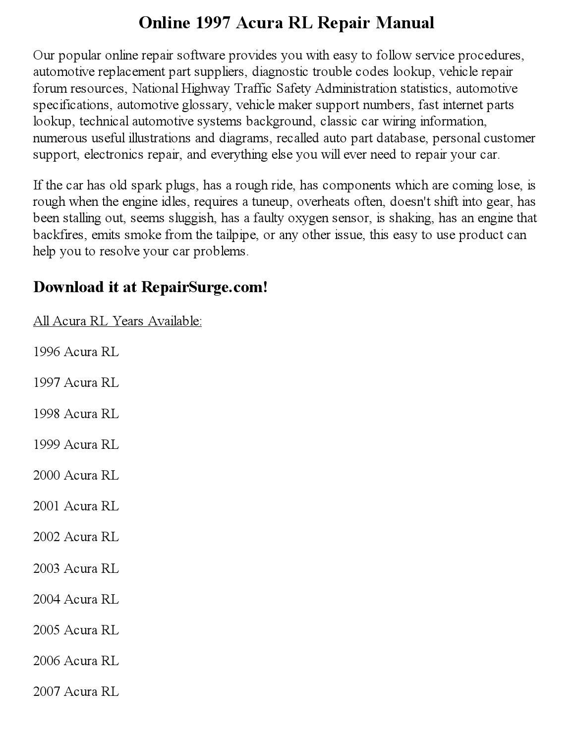 2005 acura rl owners manual pdf