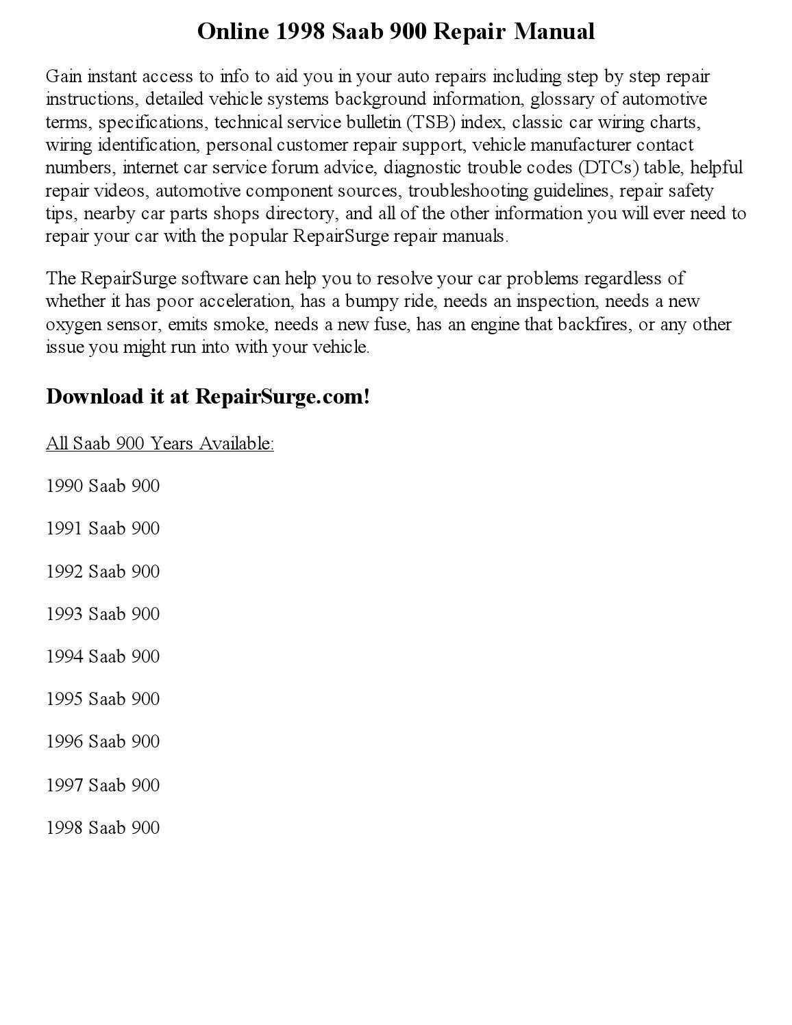 1998 saab 900 repair manual online by vaugnmeyers - issuu