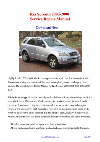 2006 kia sorento repair manual download