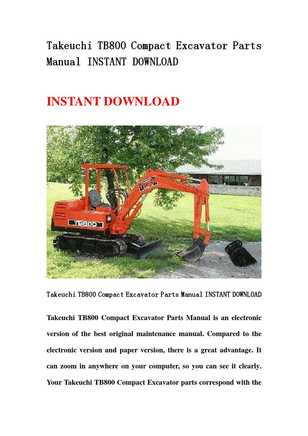takeuchi tb800 compact excavator parts manual instant. Black Bedroom Furniture Sets. Home Design Ideas