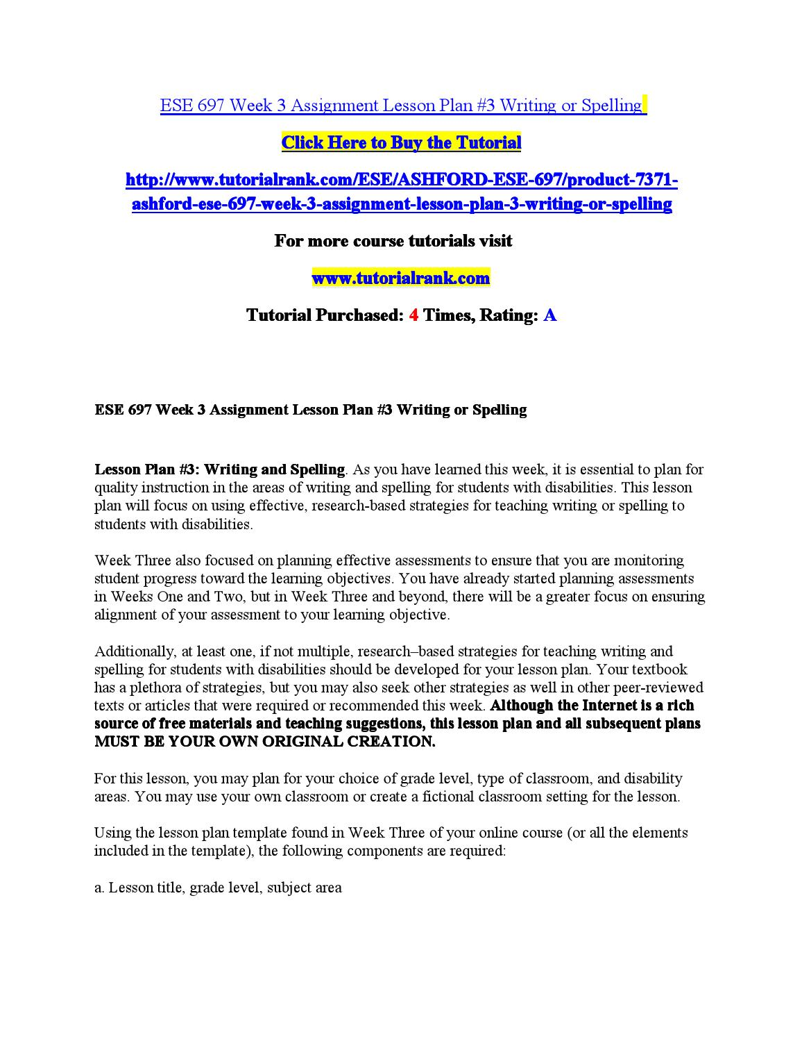 ese 697 week 4 dq 2 Tutorialrank is a online tutorial store we provides ashford ese 697 week 4 dq 2 designing a mini-lesson in mathematics.