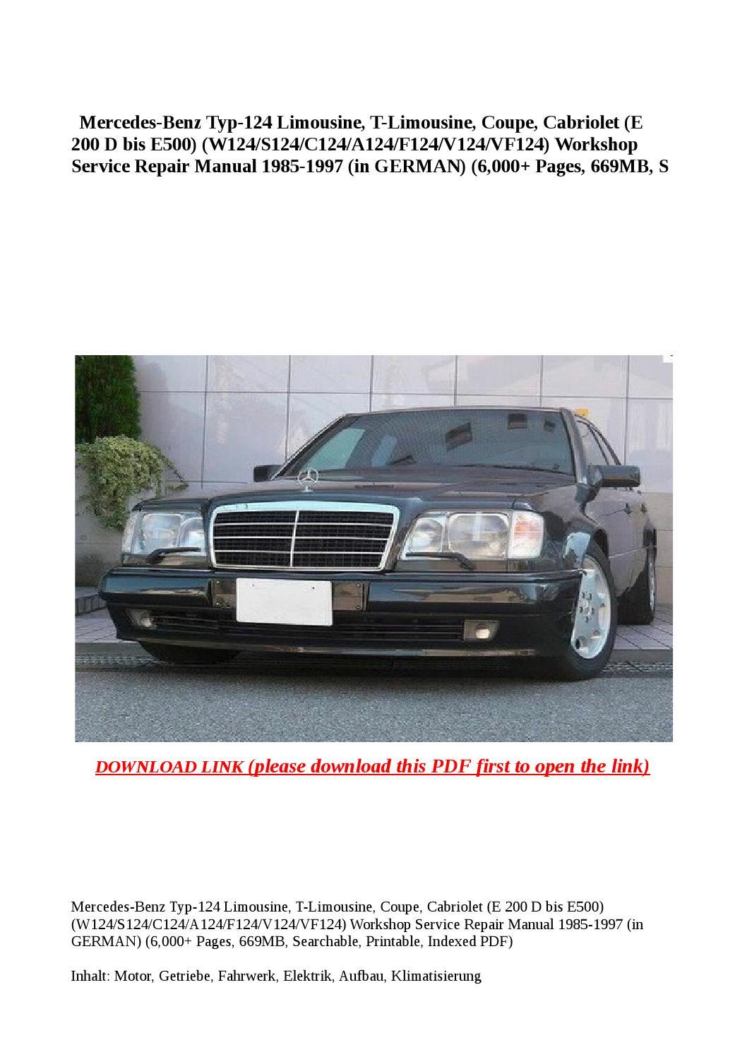 Mercedes benz typ 124 limousine t limousine coupe for Service plan b mercedes benz