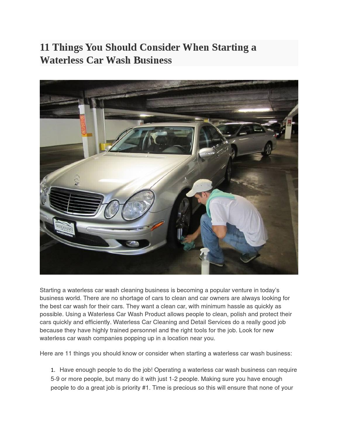 How To Write A Waterless Car Wash Business Plan