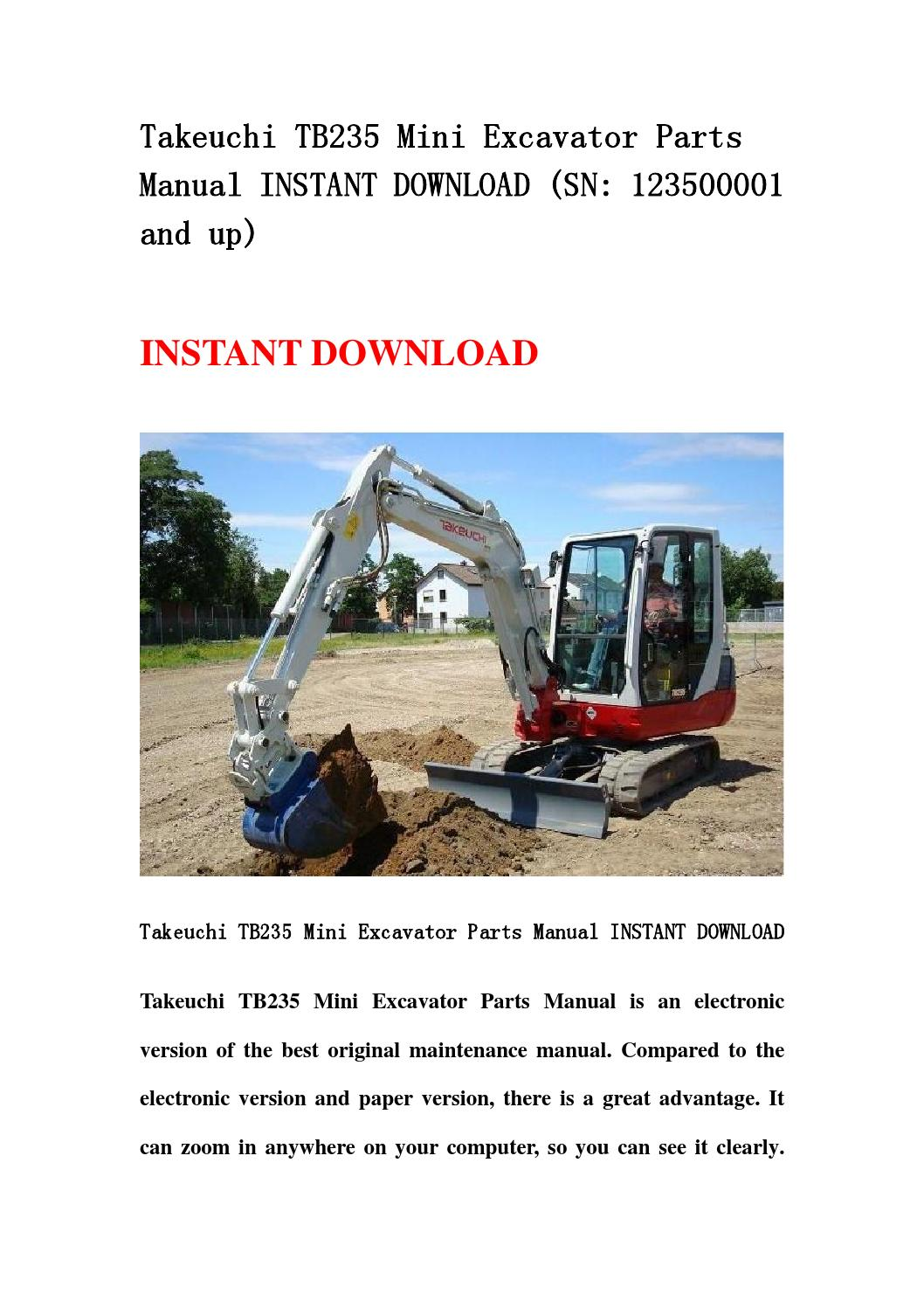 takeuchi tb235 mini excavator parts manual instant. Black Bedroom Furniture Sets. Home Design Ideas