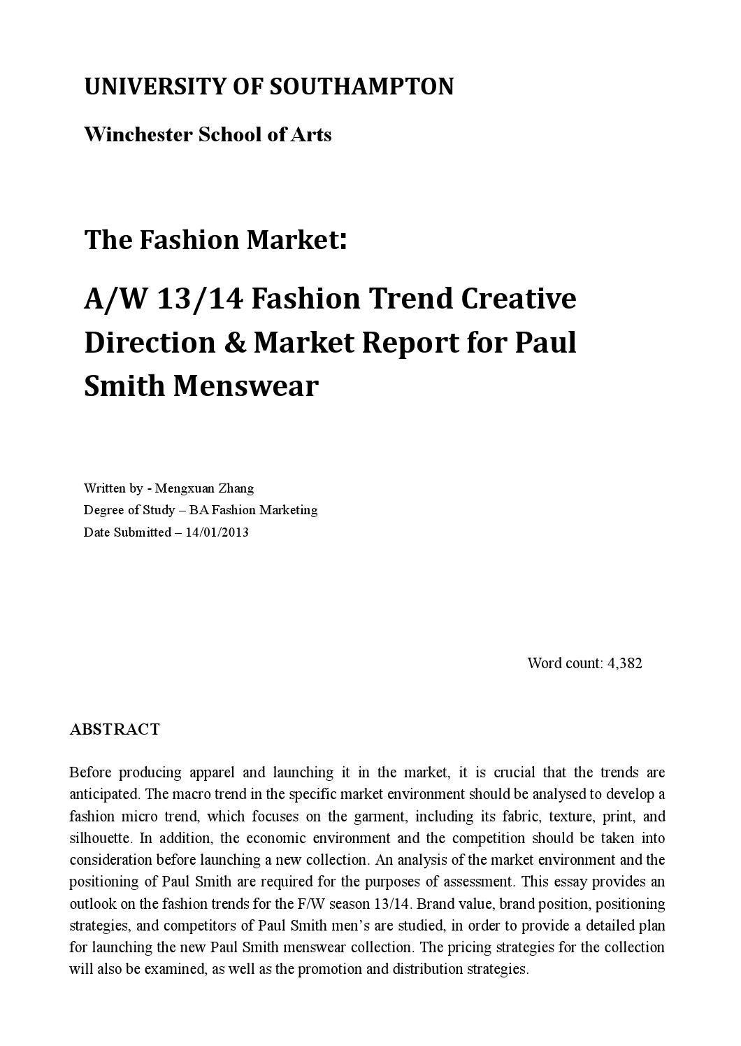 the fashion market cos by louisa kimins  a w 13 14 fashion trend creative direction market report for paul smith