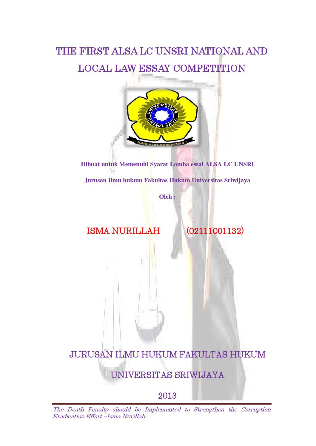 1st winner alsa local law essay competition 2013 by alsa lc unsri 1st winner alsa local law essay competition 2013 by alsa lc unsri
