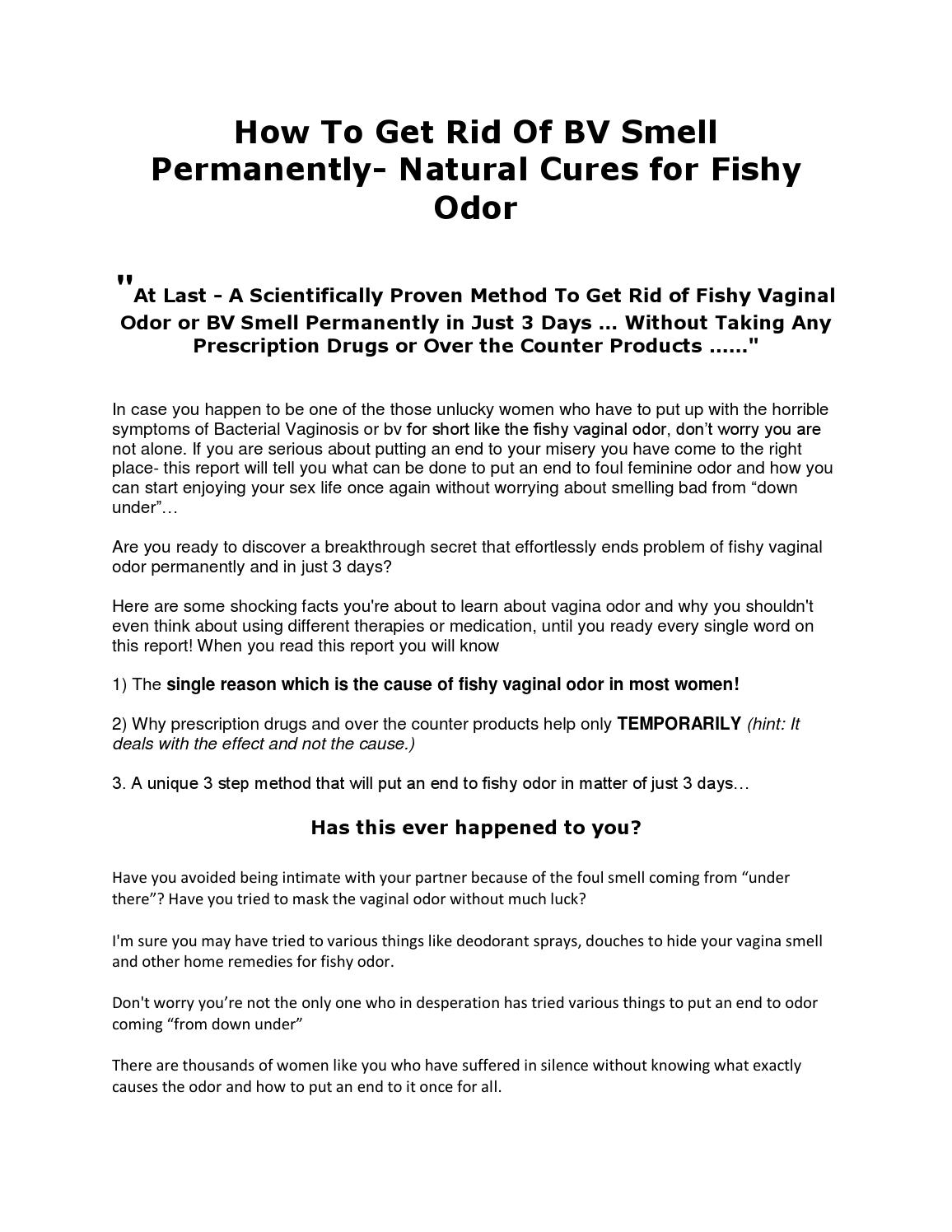 How to get rid of bv smell permanently by melaniehealth for How to get rid of fish odor