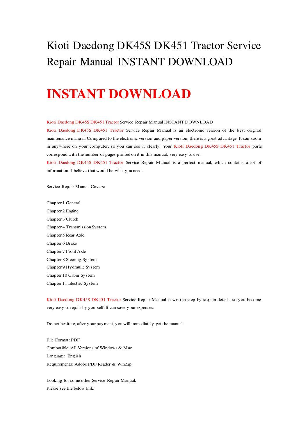 Kioti Ck20 manual