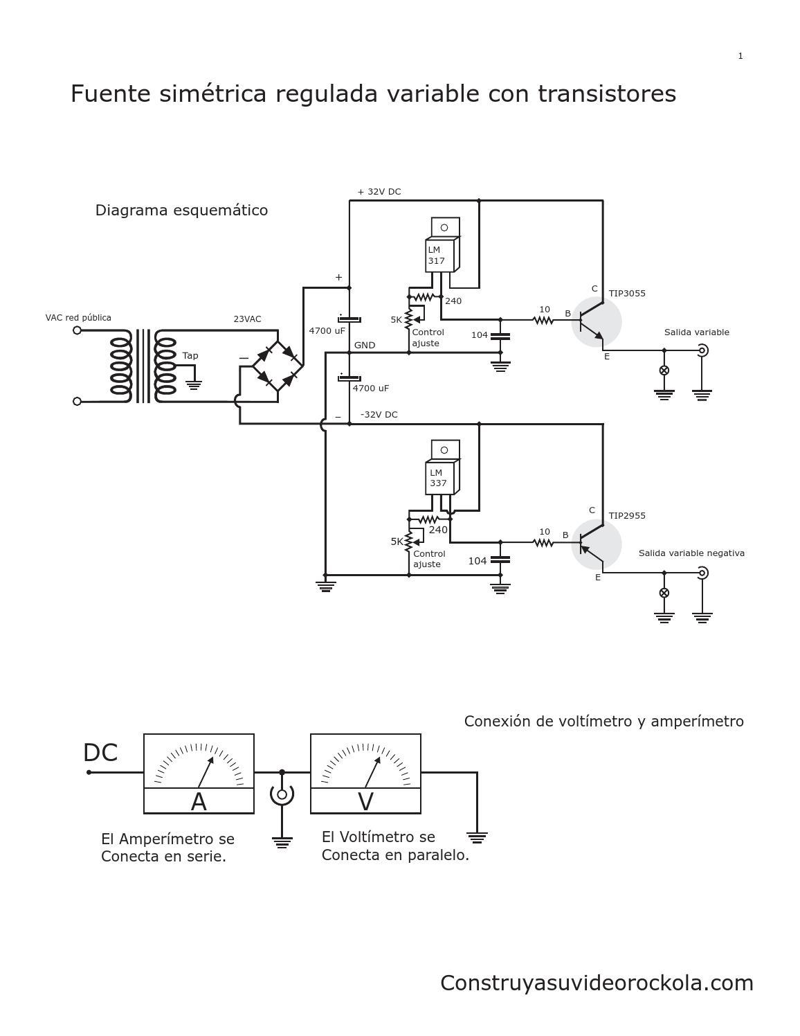 fuente sim u00e9trica regulada con transistores by gerson villa