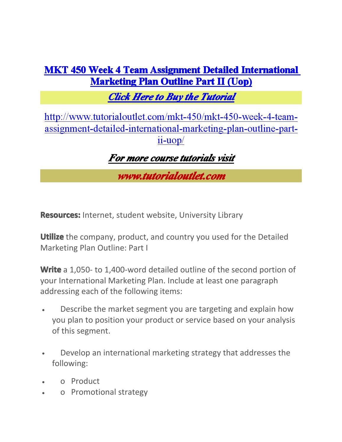 detailed international marketing plan outline ii