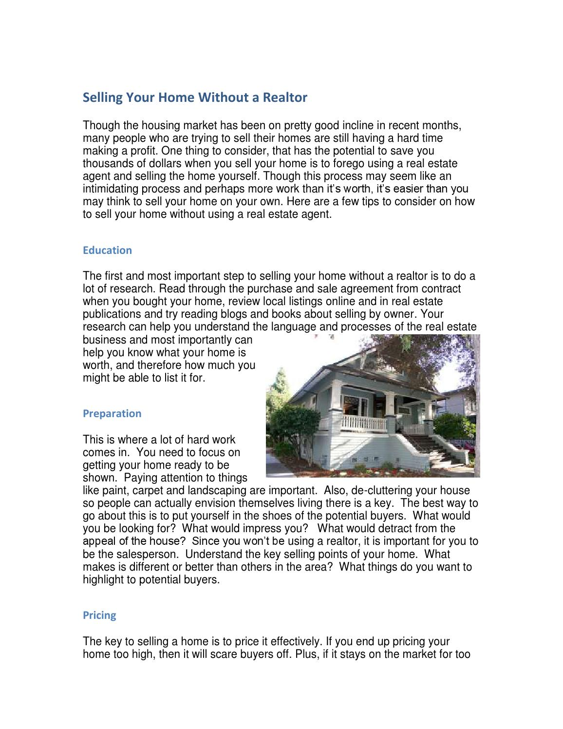 Selling your home without a realtor by mcclain my issuu - Selling your home without a realtor ...