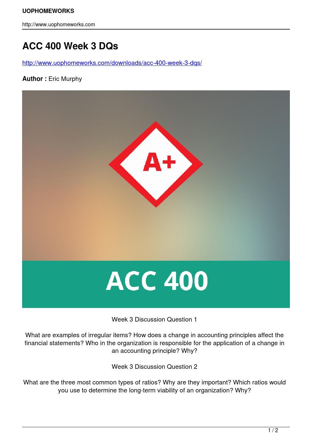 Acc 422 week 3 dqs