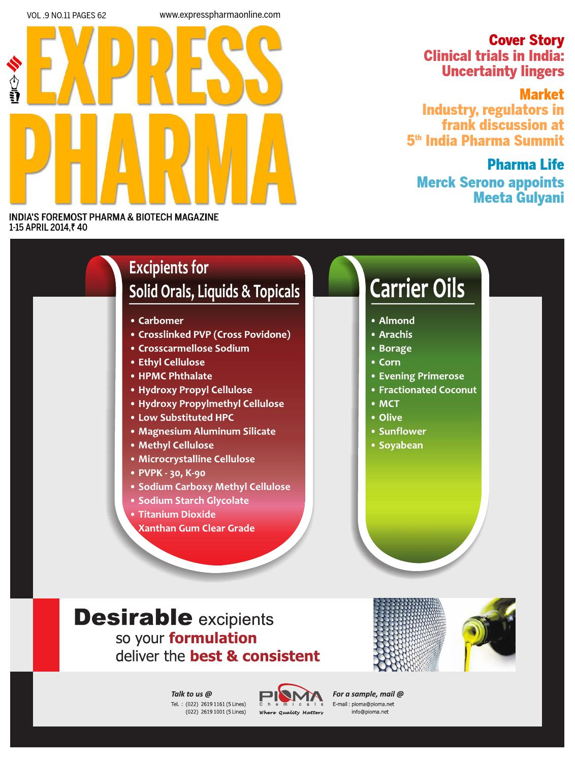 express pharma april 1 15 2014 by indian express   issuu