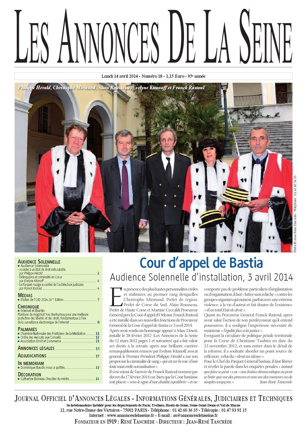 Edition du lundi 14 avril 2014 by annonces de la seine issuu - Chambre nationale des huissiers annonces ...