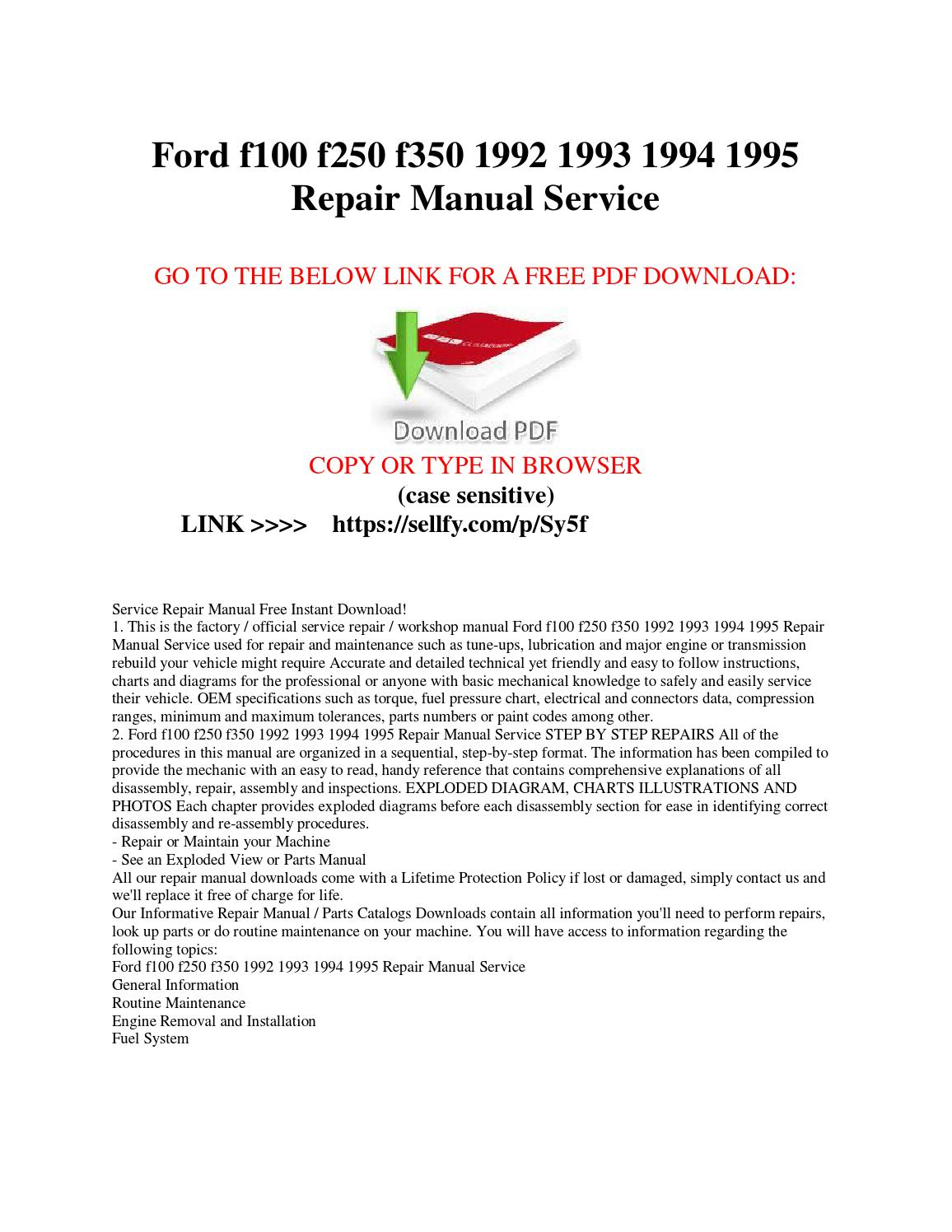 ford service manuals free download