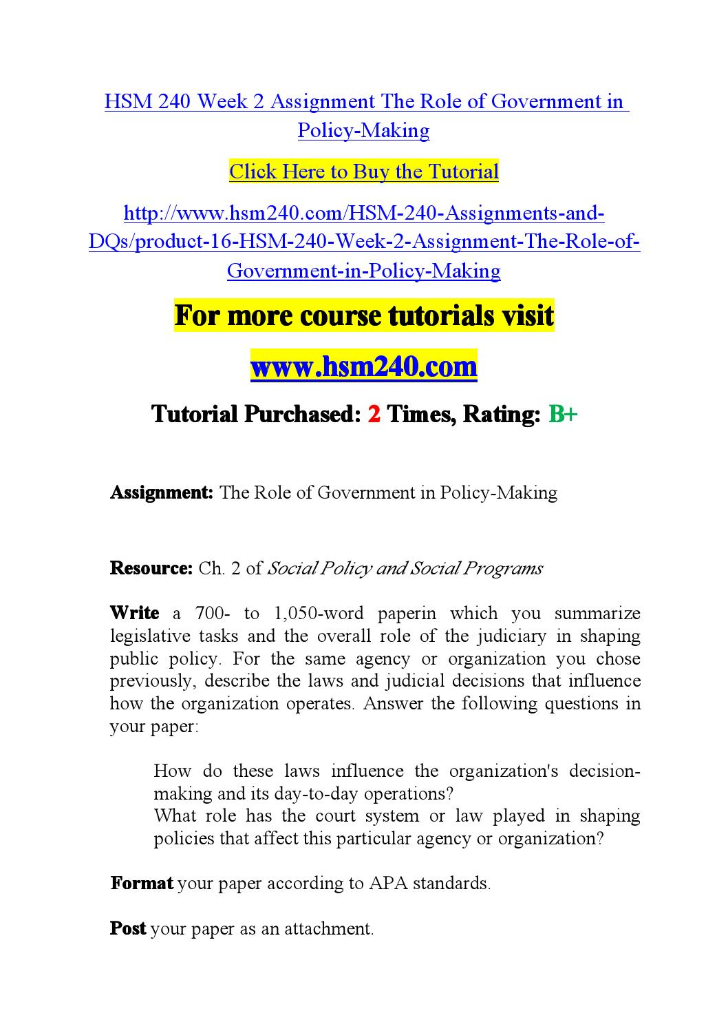 hsm 240 week 2 assignment Snaptutorial is a online tutorial store we provides hsm 240 week 5 dq 1 and dq 2.