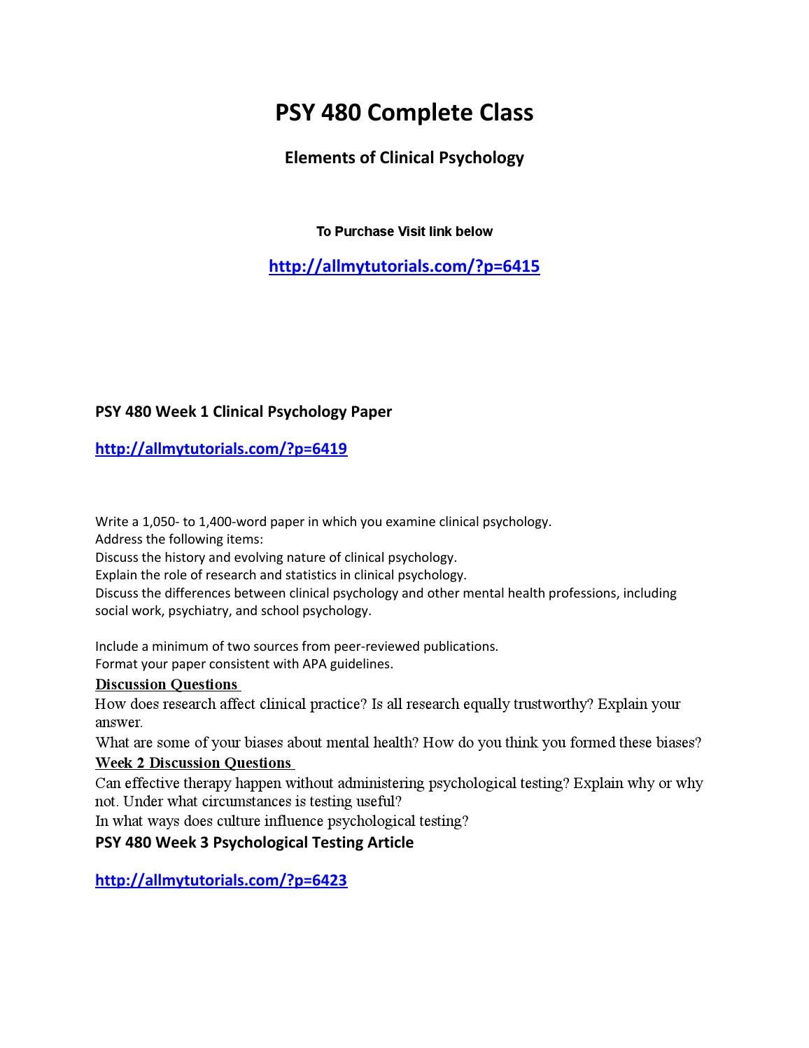 psy 480 complete class elements of Grand canyon university's phd in performance psychology  this course introduces students to the principal elements  following successful completion of psy.