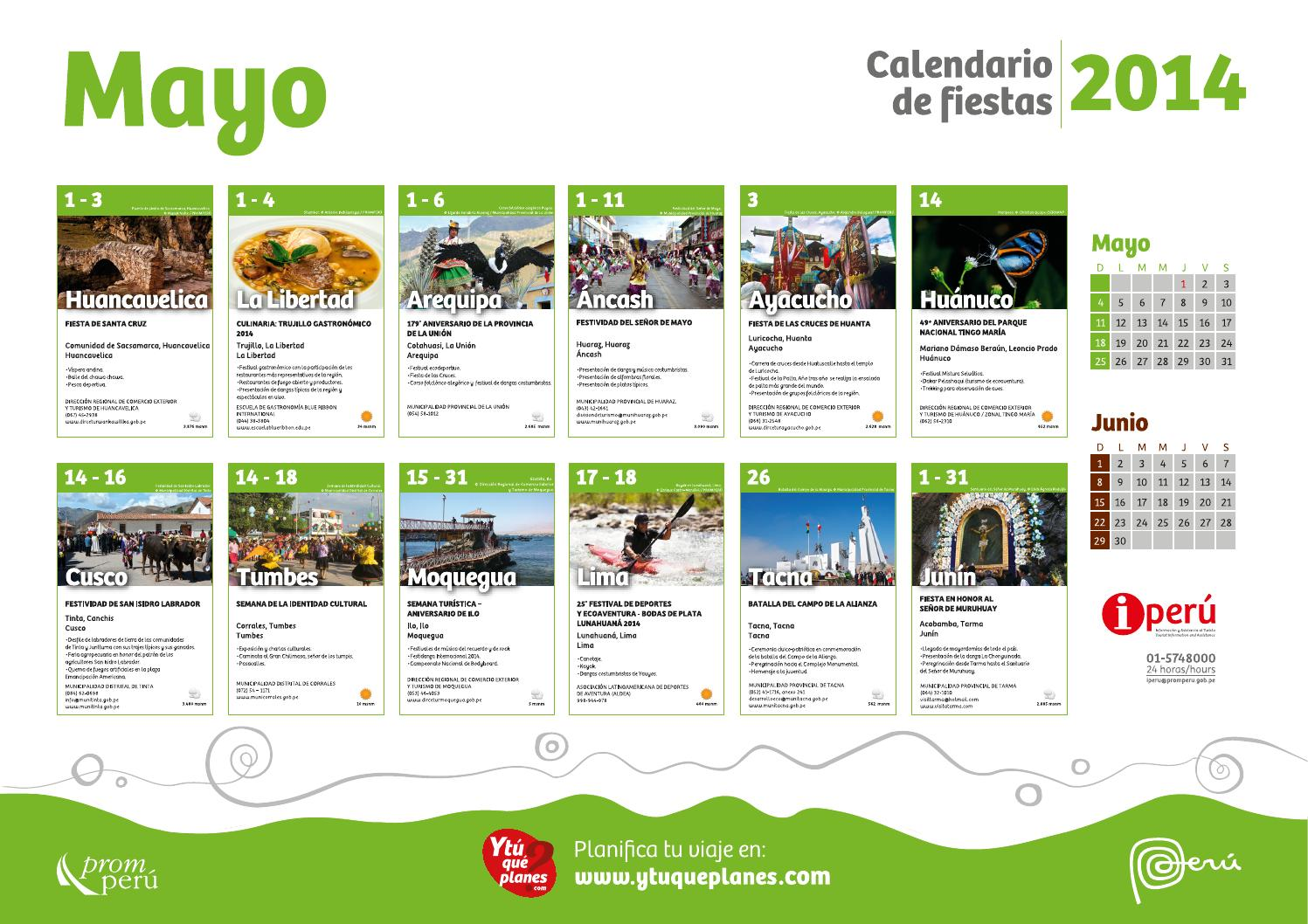 Calendario de fiestas mayo by visit peru issuu for Horario peru wellness